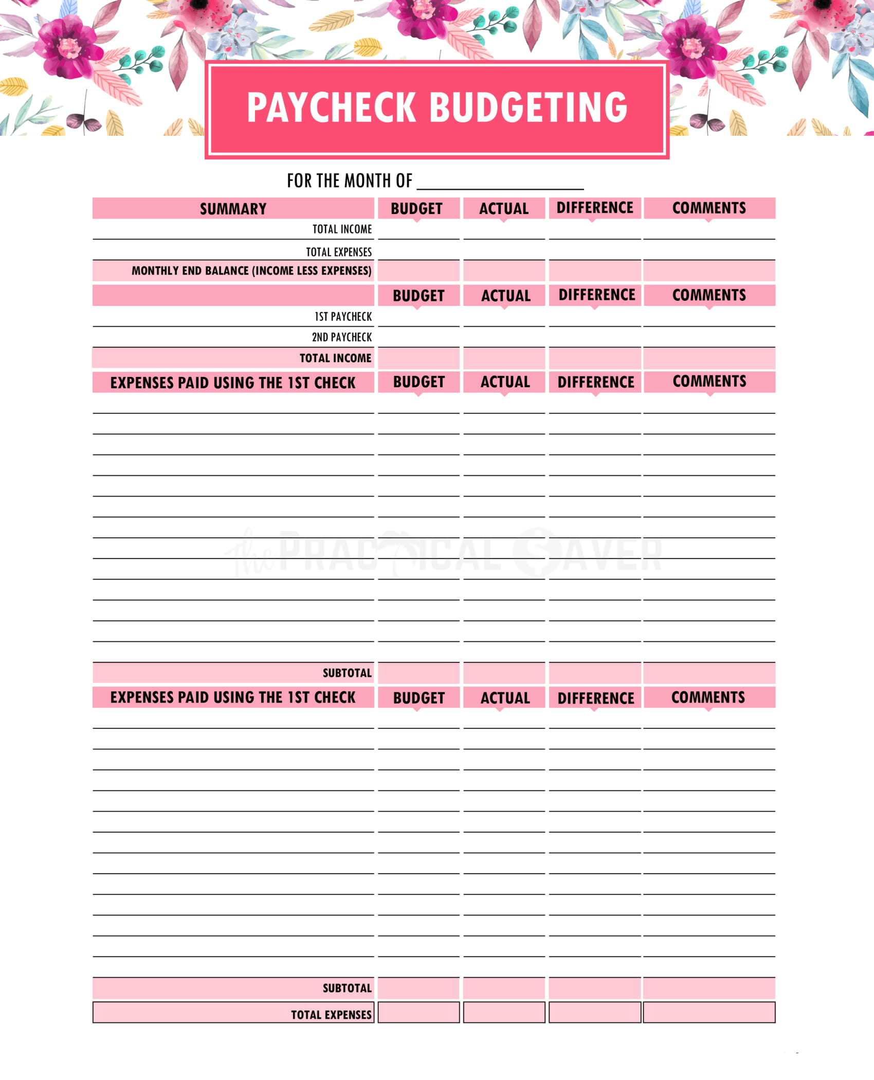 Budget Binder Printables - The Practical Saver | Printable Budget Binder Worksheets