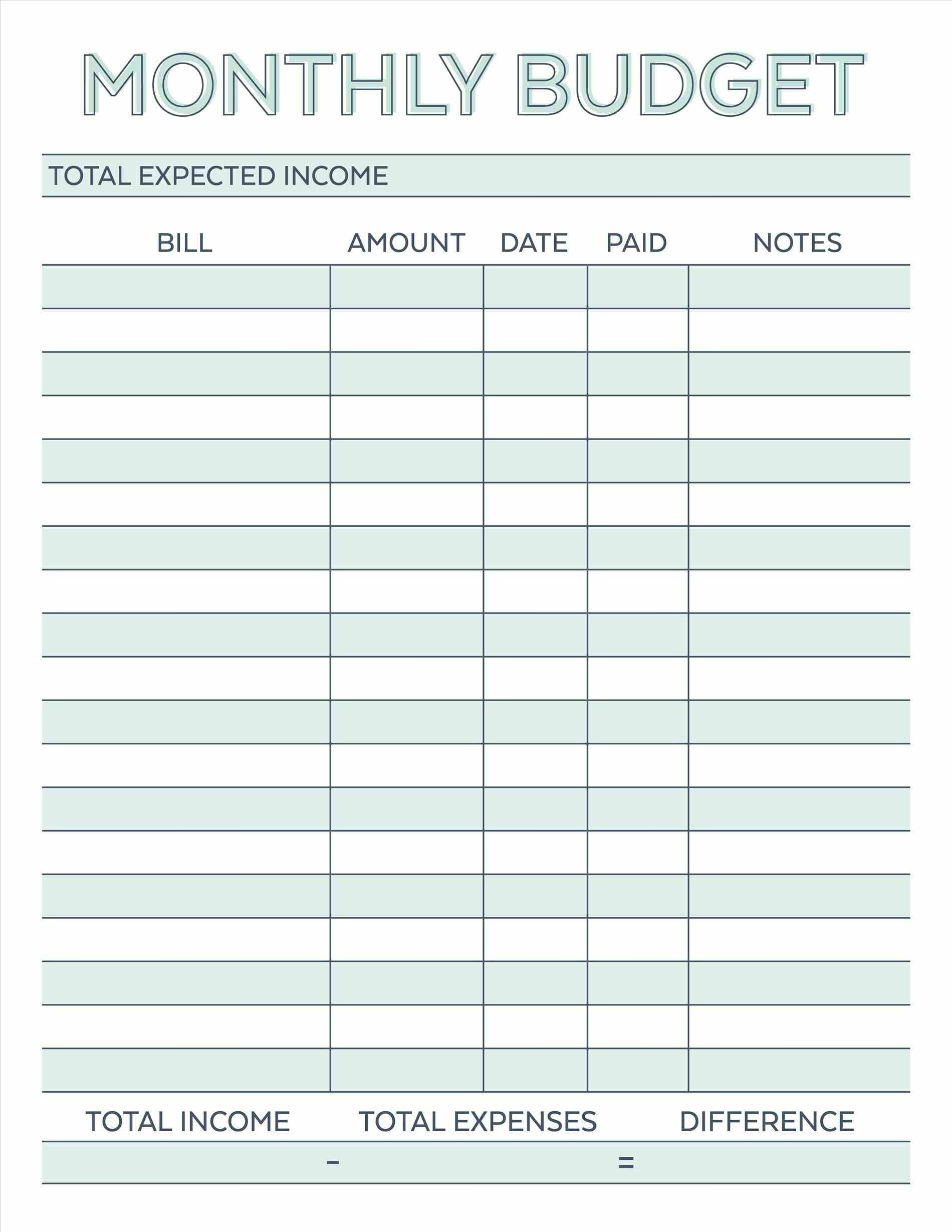 Budget Planner Planner Worksheet Monthly Bills Template Free | Free Printable Monthly Expenses Worksheet