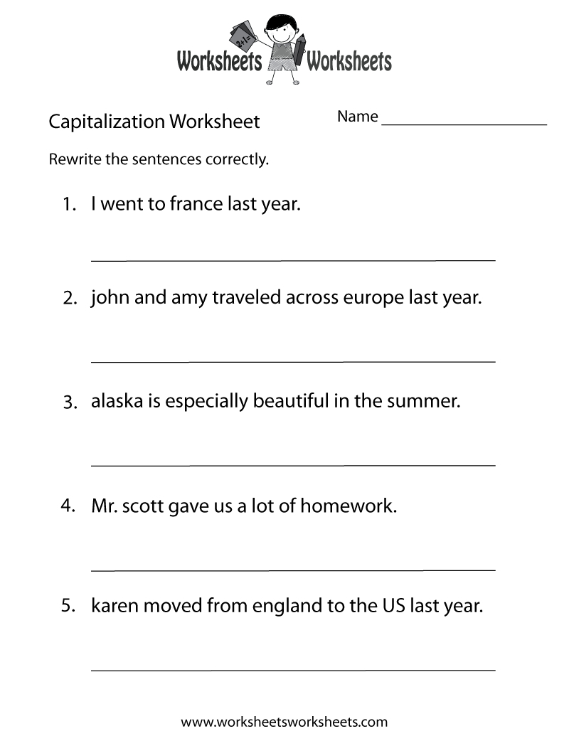 Capitalization Worksheets | Capitalization Practice Worksheet - Free | Free Printable Grammar Worksheets For Highschool Students