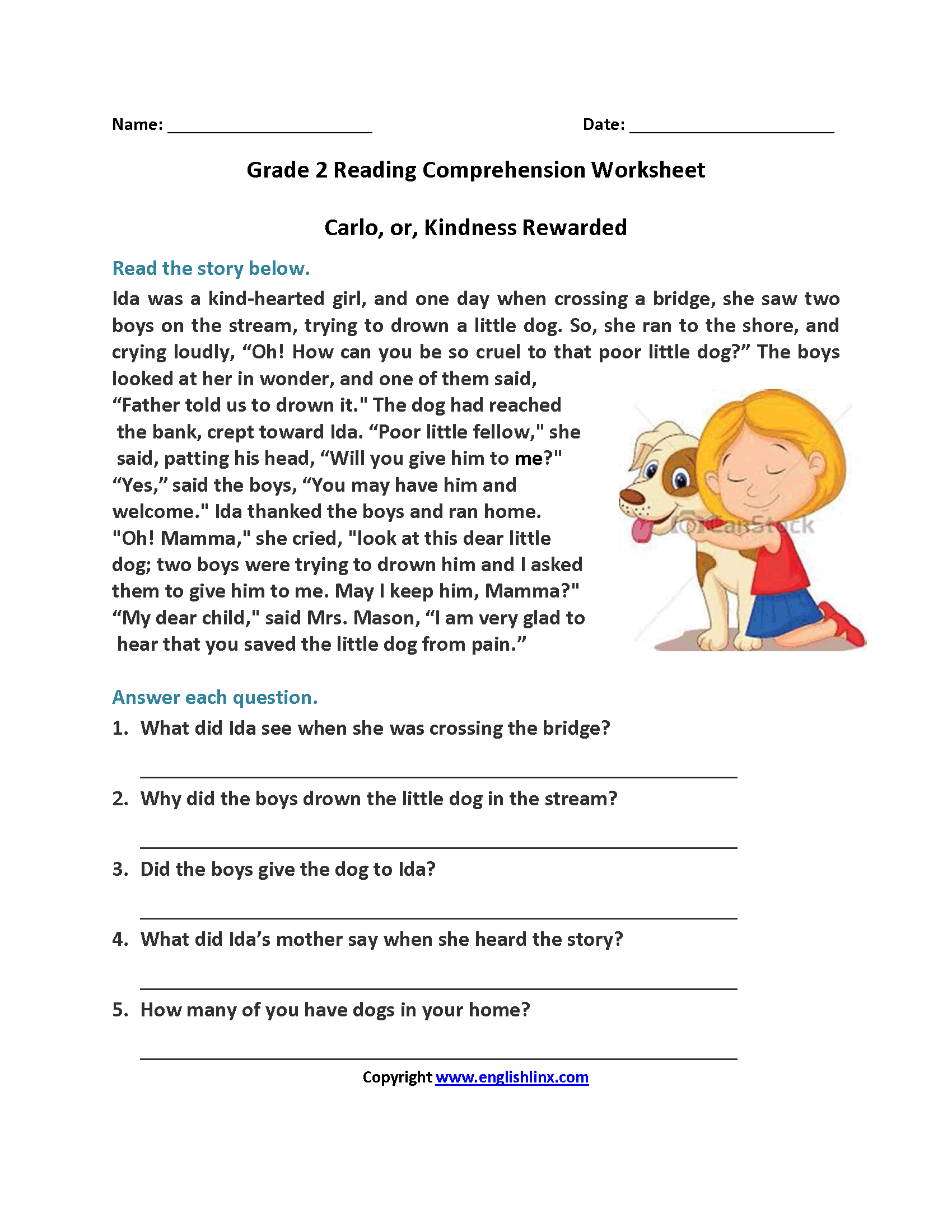 Carlo Or Kindness Rewarded Second Grade Reading Worksheets | Reading | Second Grade Reading Comprehension Printable Worksheets