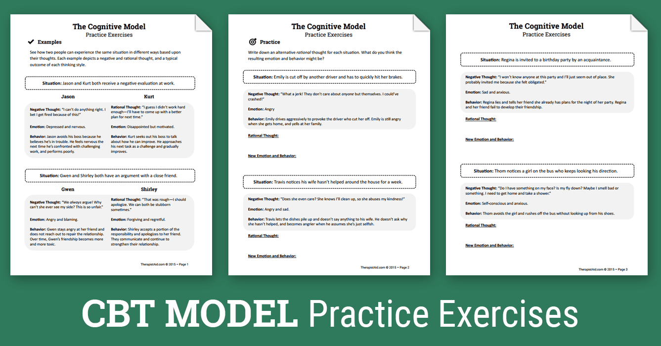 Cbt Practice Exercises (Worksheet) | Therapist Aid - Free Printable | Cbt Printable Worksheets