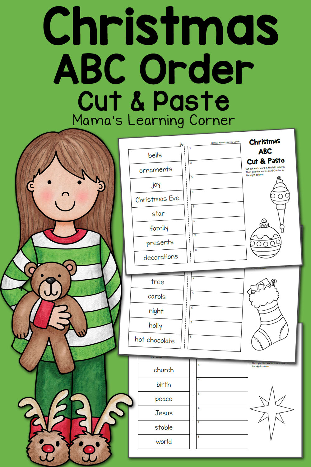 Christmas Abc Order Worksheets: Cut And Paste! - Mamas Learning Corner | Printable Abc Order Worksheets
