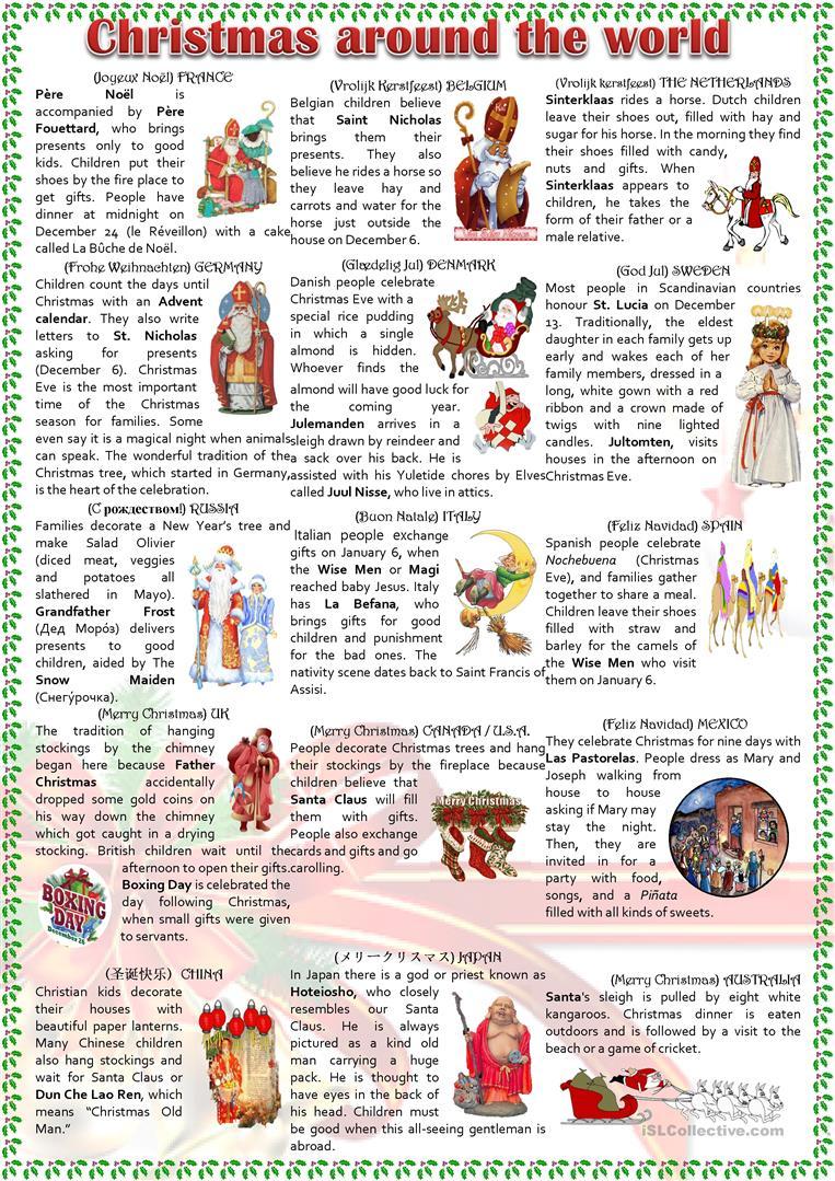 Christmas Around The World Worksheet - Free Esl Printable Worksheets | Christmas Around The World Worksheets Printables