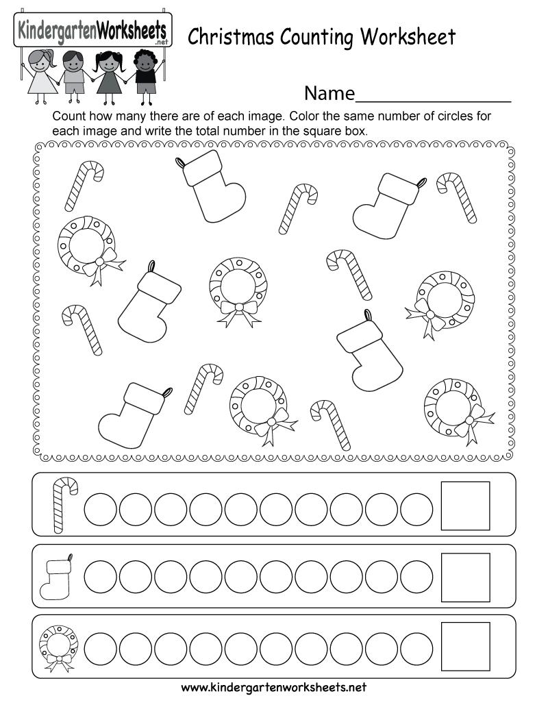 Christmas Counting Worksheet - Free Kindergarten Holiday Worksheet   Christmas Worksheets Printables For Kindergarten