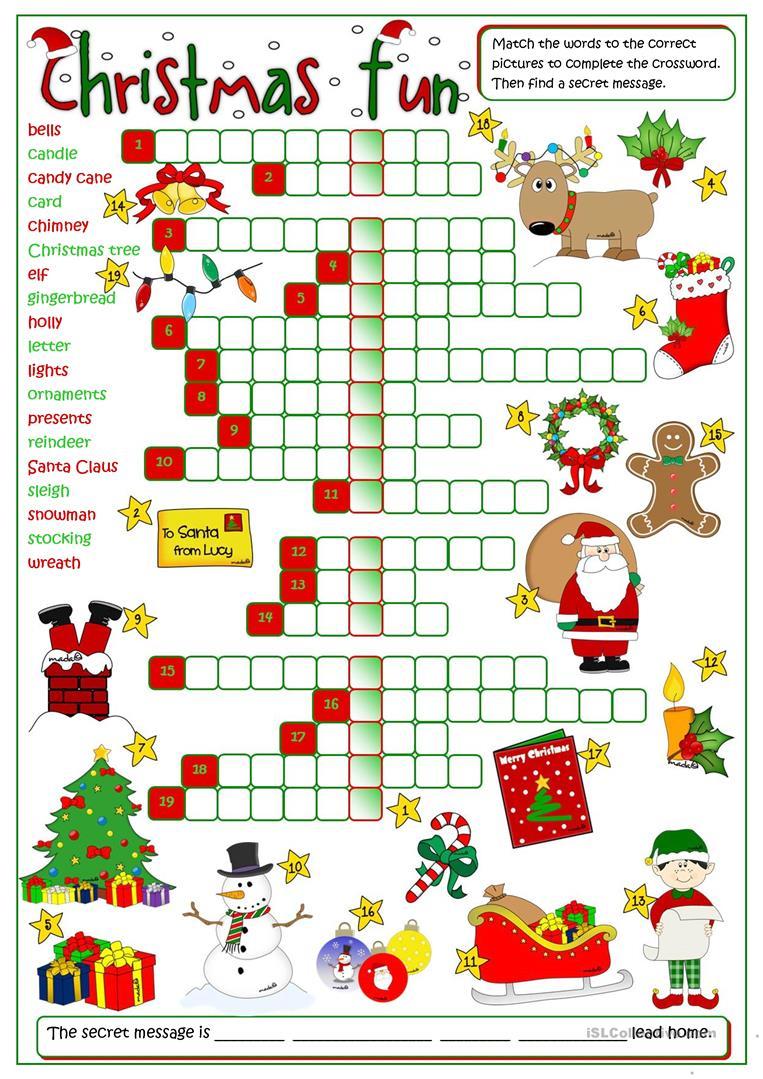 Christmas Fun - Crossword Worksheet - Free Esl Printable Worksheets | Christmas Fun Worksheets Printable Free