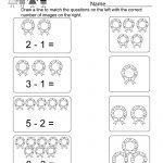 Christmas Subtraction Worksheet   Free Kindergarten Holiday | Free Printable Christmas Math Worksheets Kindergarten