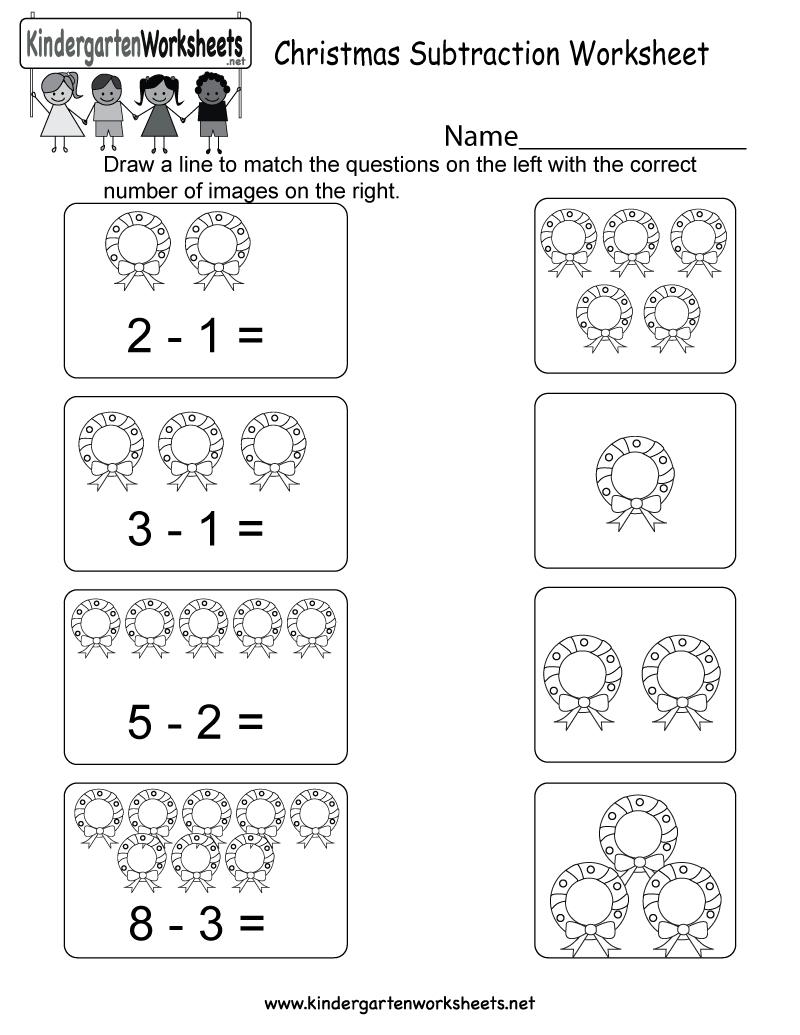 Christmas Subtraction Worksheet - Free Kindergarten Holiday | Free Printable Christmas Math Worksheets Kindergarten