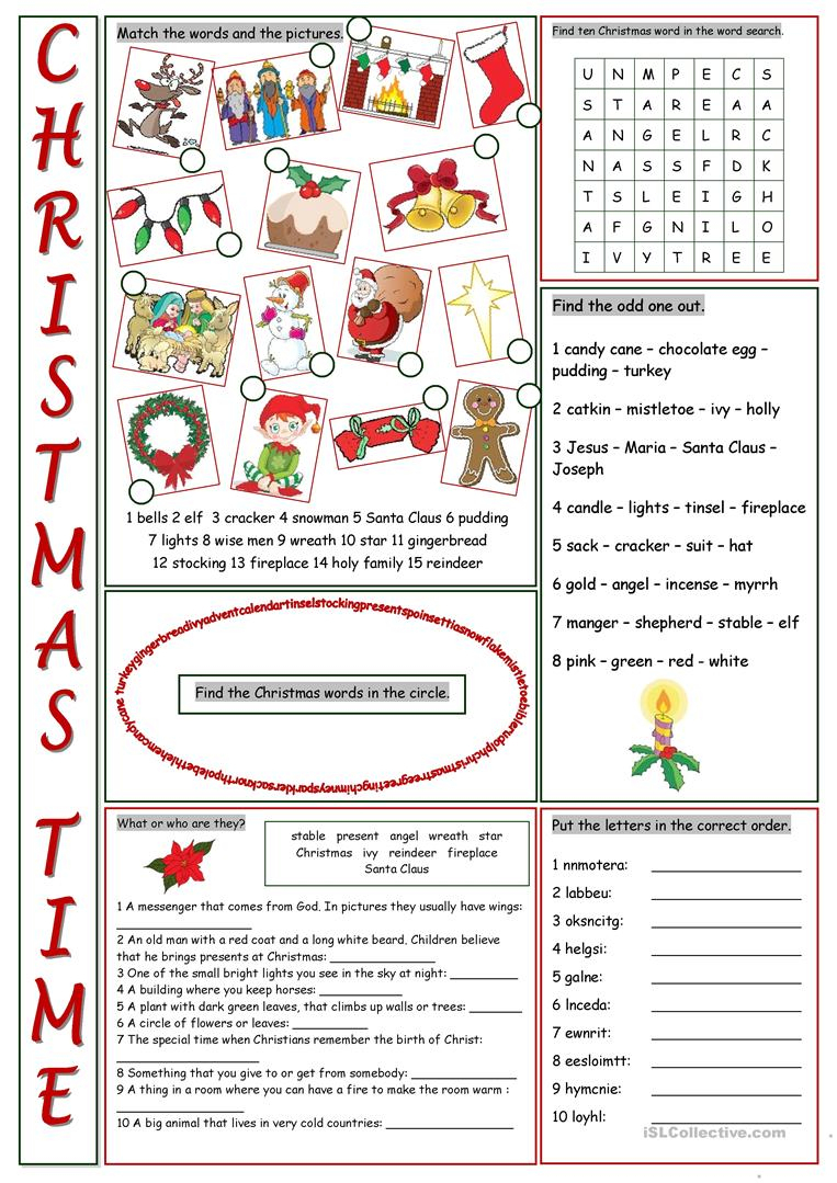 Christmas Time Vocabulary Exercises Worksheet - Free Esl Printable | Christian Christmas Worksheets Printable Free