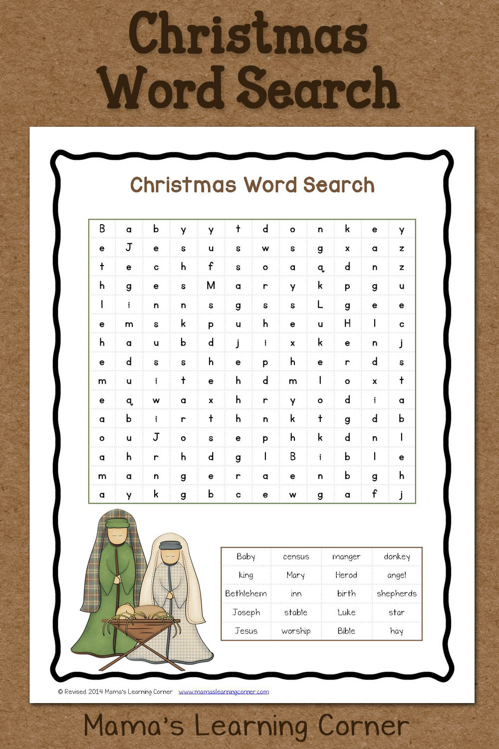 Christmas Word Search: Free Printable - Mamas Learning Corner | Christian Christmas Worksheets Printable Free