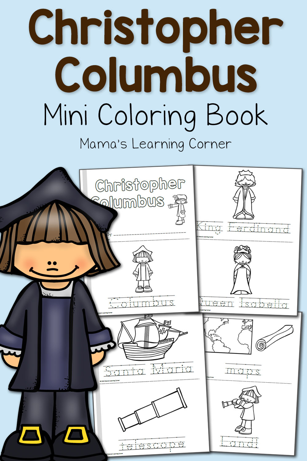 Christopher Columbus Coloring Pages - Mamas Learning Corner | Christopher Columbus Printable Worksheets