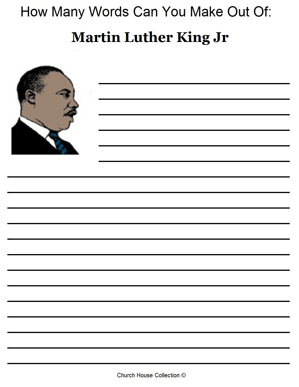 Church House Collection Blog: Free Martin Luther King Jr Worksheets | Free Printable Martin Luther King Jr Worksheets