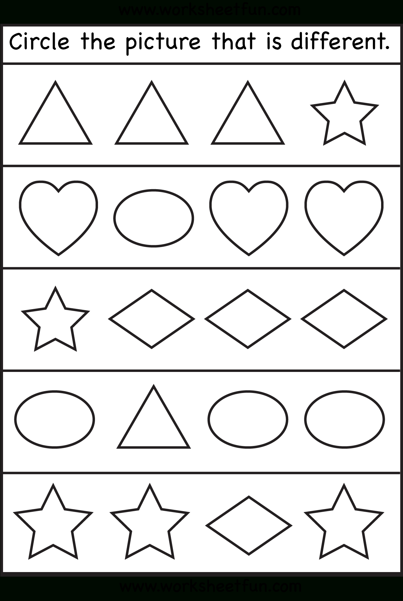 Circle The Picture That Is Different – 1 Worksheet / Free Printable   Circle Printable Worksheets