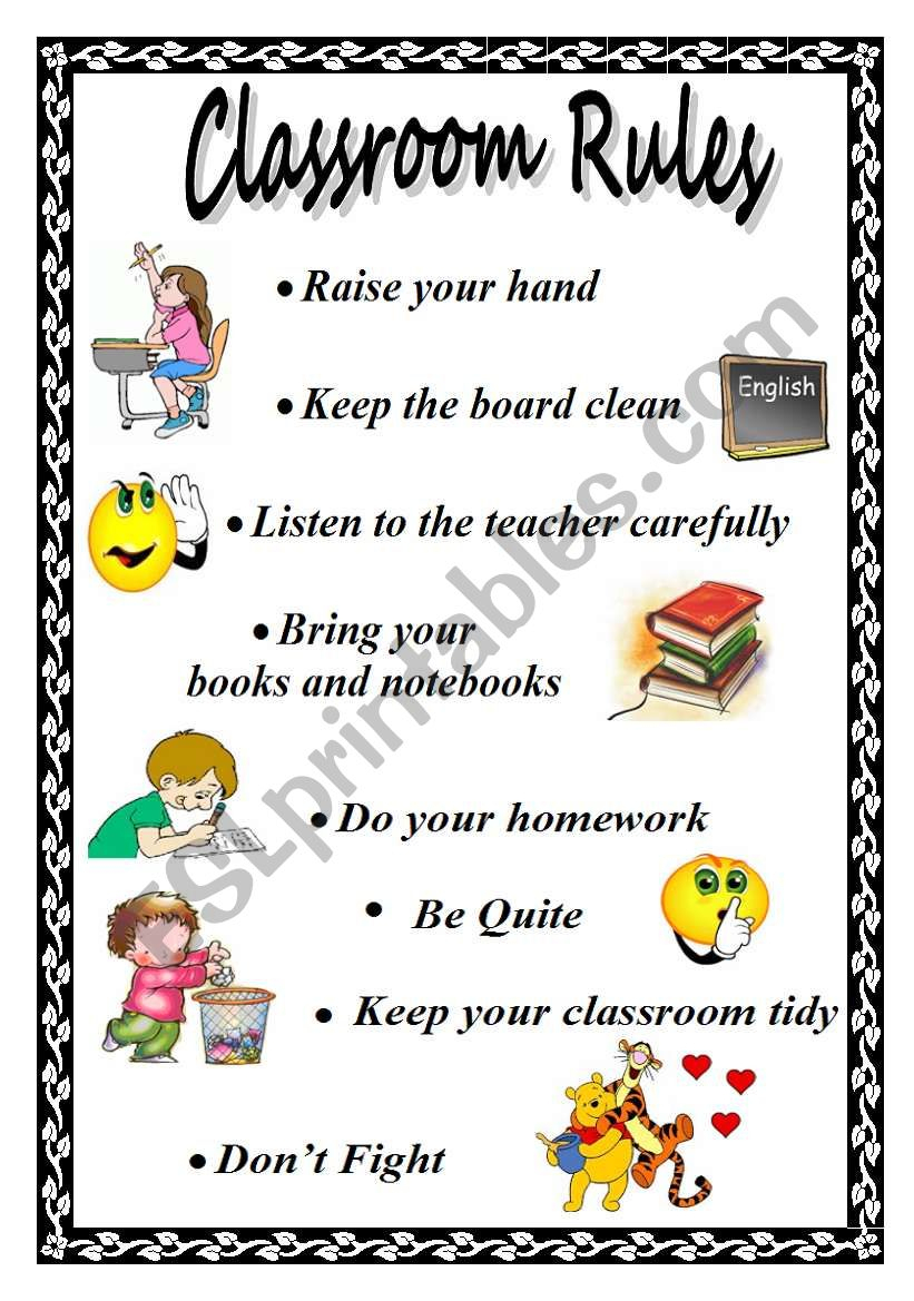 Classroom Rules - Esl Worksheetxyz5 | Free Printable Classroom Rules Worksheets