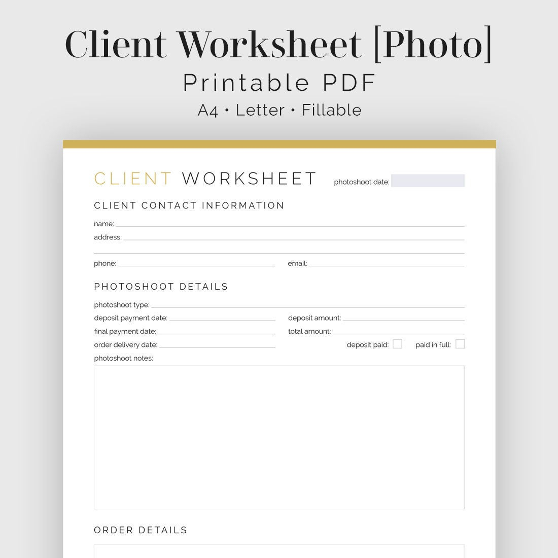 Client Worksheet Photography Fillable Printable Pdf | Etsy | Printable Photography Worksheets