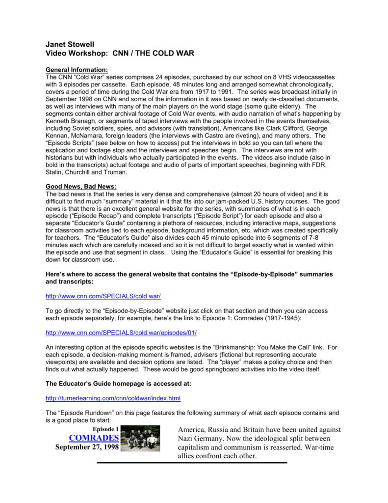 Cold War - Deerfield High School | Cold War Printable Worksheets