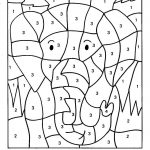 Color By Numbers Elephant Coloring Pages For Kids Printable   Printable Color By Number Math Worksheets