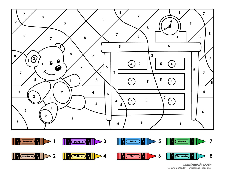Colornumber Printables | And Away We Go | Number Worksheets | Free Printable Kindergarten Worksheets Color Words