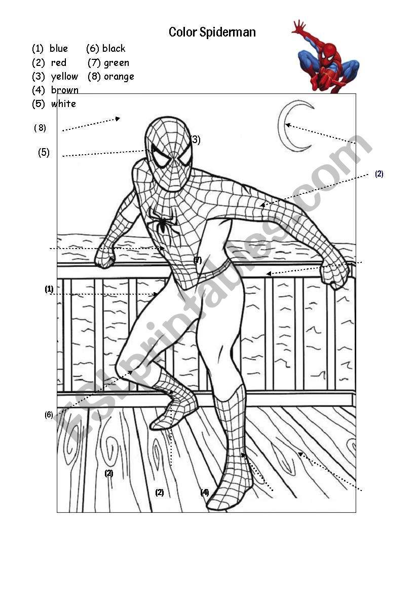 Colors - Spiderman - Esl Worksheetim Lety | Spiderman Worksheets Free Printables
