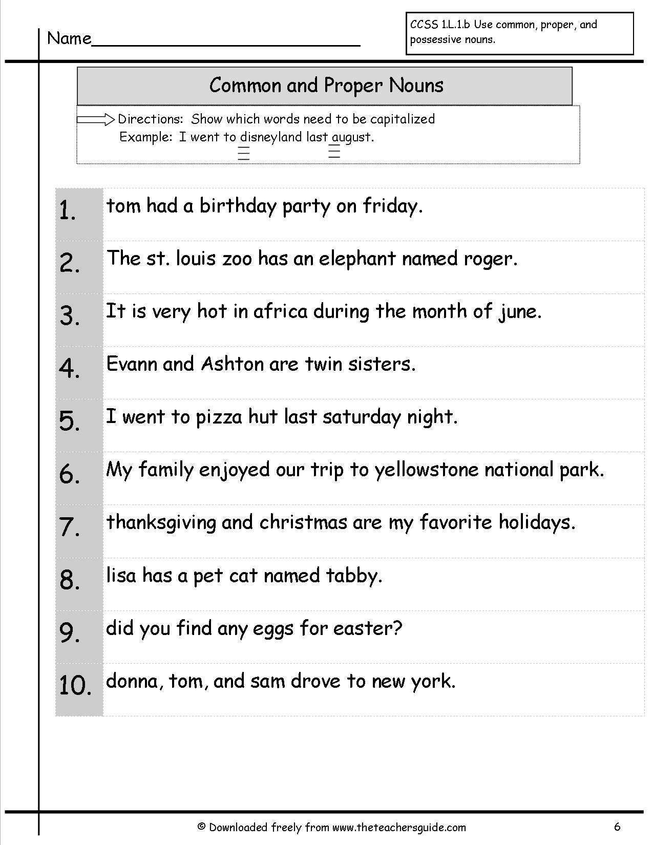 Common And Proper Nouns Worksheets From The Teacher's Guide | Common And Proper Nouns Printable Worksheets