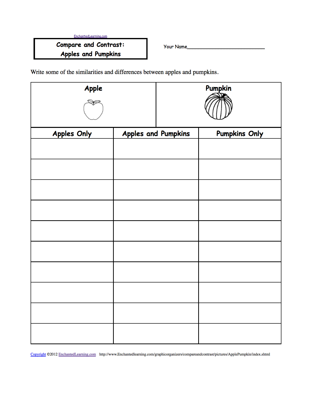 Compare And Contrast: Apple And Pumpkin, A Worksheet | Printable Compare And Contrast Worksheets