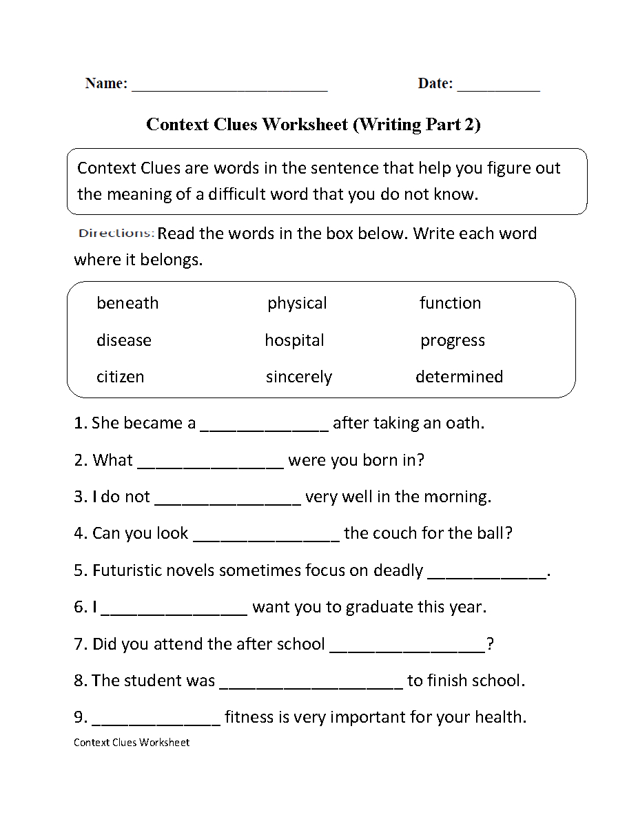 Context Clues Worksheet Writing Part 2 Intermediate | Ela | Context | Free Printable Context Clues Worksheets