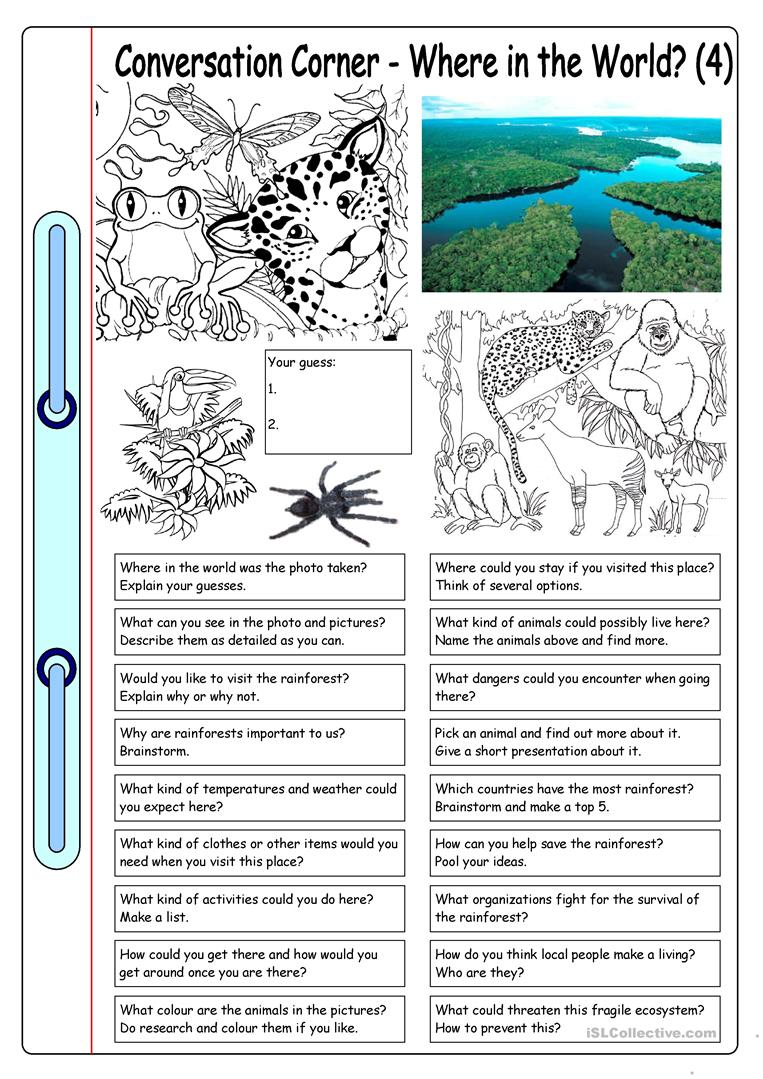 Conversation Corner: Where In The World? (4) - Rainforest Worksheet | Rainforest Printable Worksheets