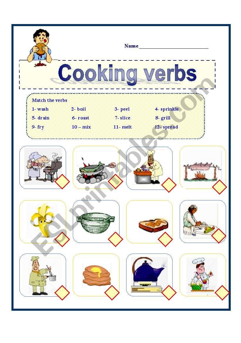 Cooking Verbs - Esl Worksheetawsana | Cooking Verbs Printable Worksheets