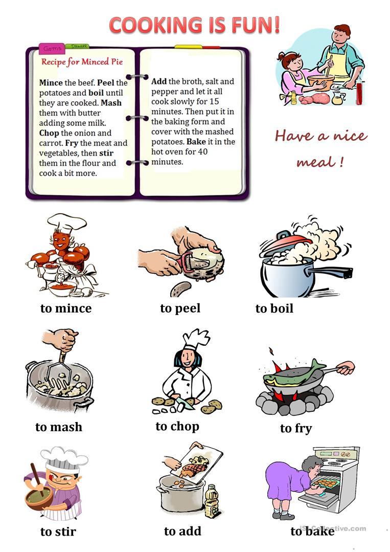 Cooking Verbs Worksheet - Free Esl Printable Worksheets Madeteachers | Cooking Verbs Printable Worksheets