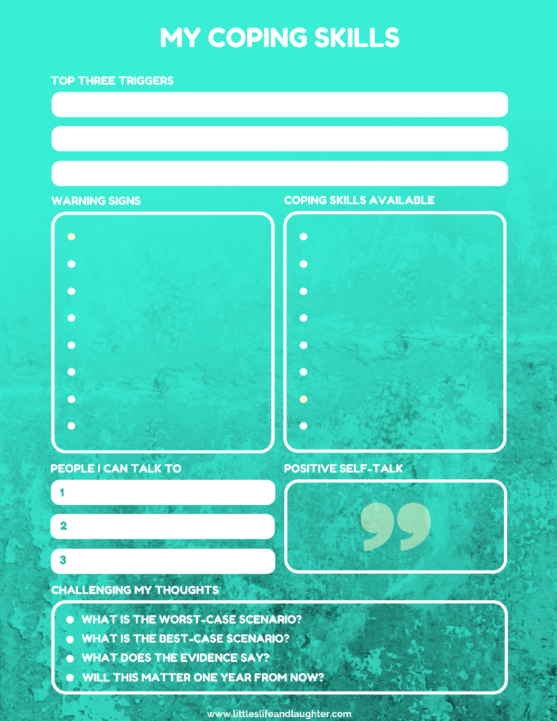 Coping Skills Worksheet For Kids   Counseling For Young Adults   Free Printable Coping Skills Worksheets For Adults
