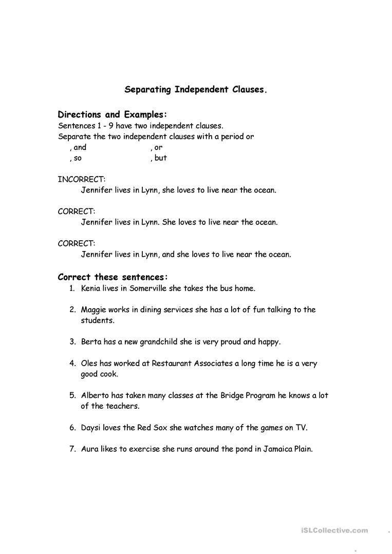 Correcting Run-On Sentences Worksheet - Free Esl Printable | Free Printable Worksheets On Run On Sentences