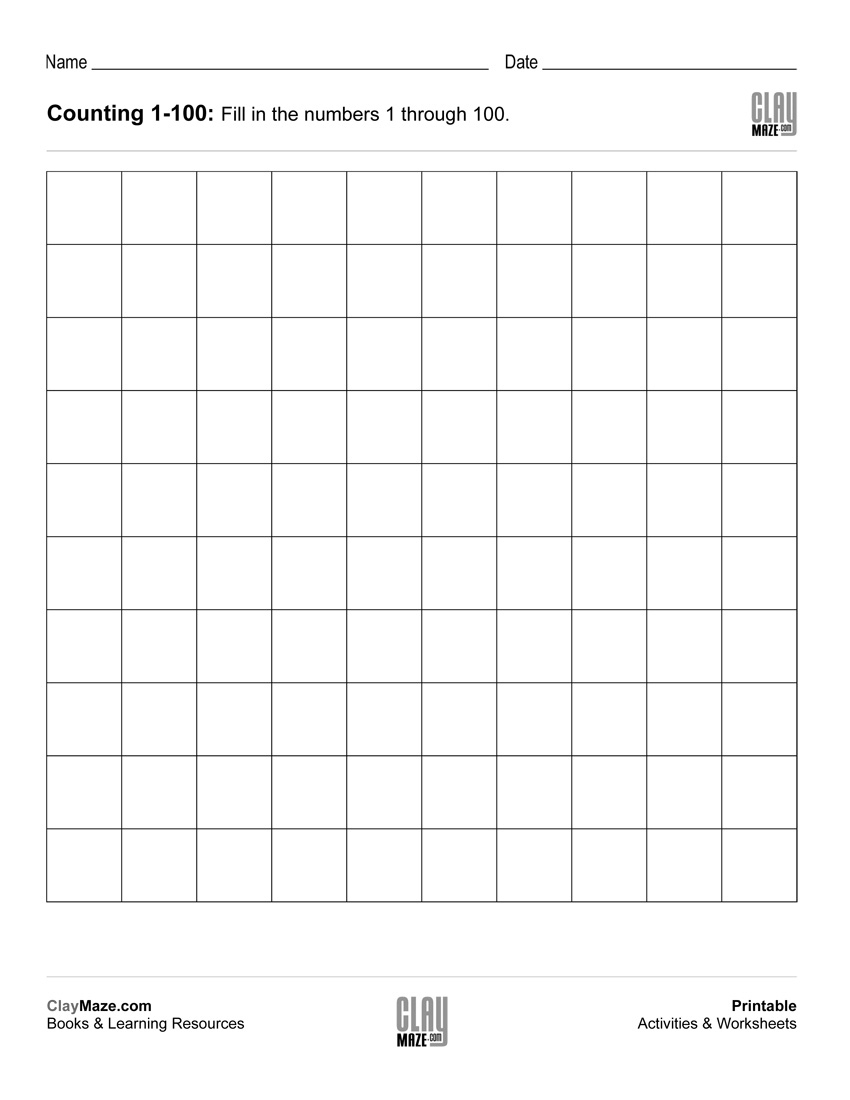 Counting Chart 1 To 100 (Blank) | Free Printable Children's - Free | Free Printable Blank 100 Chart Worksheets