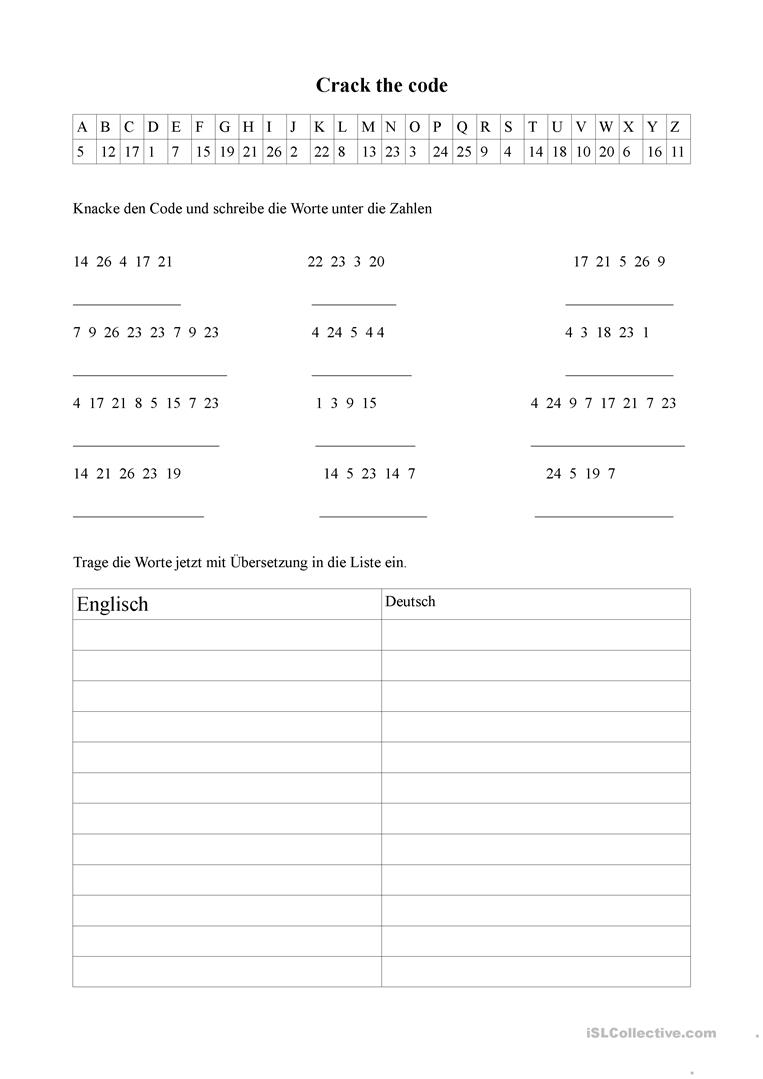Crack The Code Worksheet - Free Esl Printable Worksheets Made | Crack The Code Worksheets Printable Free