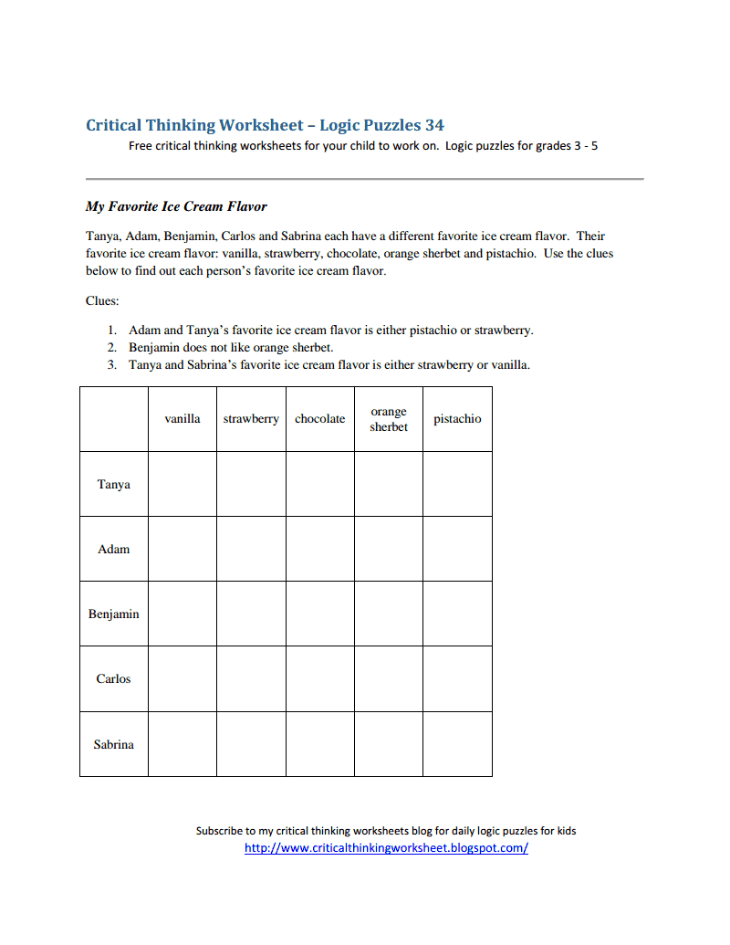 Critical Thinking Worksheet - Logic Puzzles 34.pdf - Logic Puzzles | Printable Perplexors Worksheets
