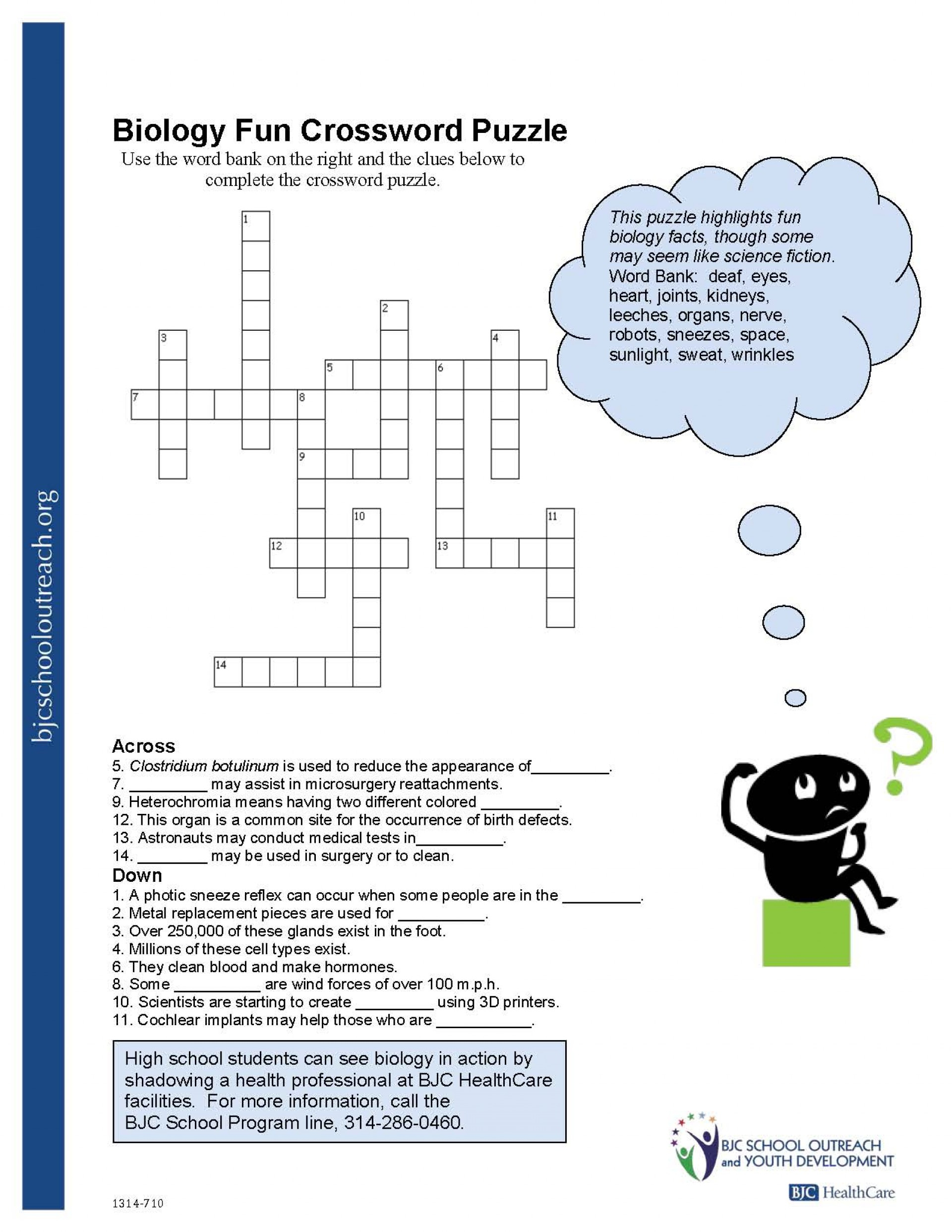 Crosswords Crossword Puzzle Worksheets For Middle School Biology Fun | Free Printable Biology Worksheets For High School