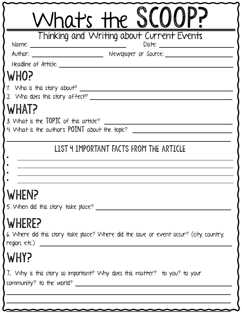 Current Event Newspaper Assignment-What's The Scoop?- | T E A C H | Current Events Printable Worksheet