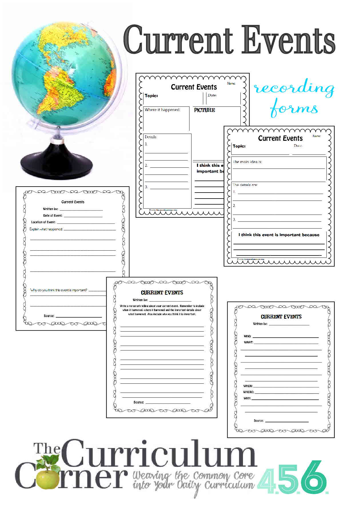 Current Events - The Curriculum Corner 4-5-6 | Current Events Printable Worksheet