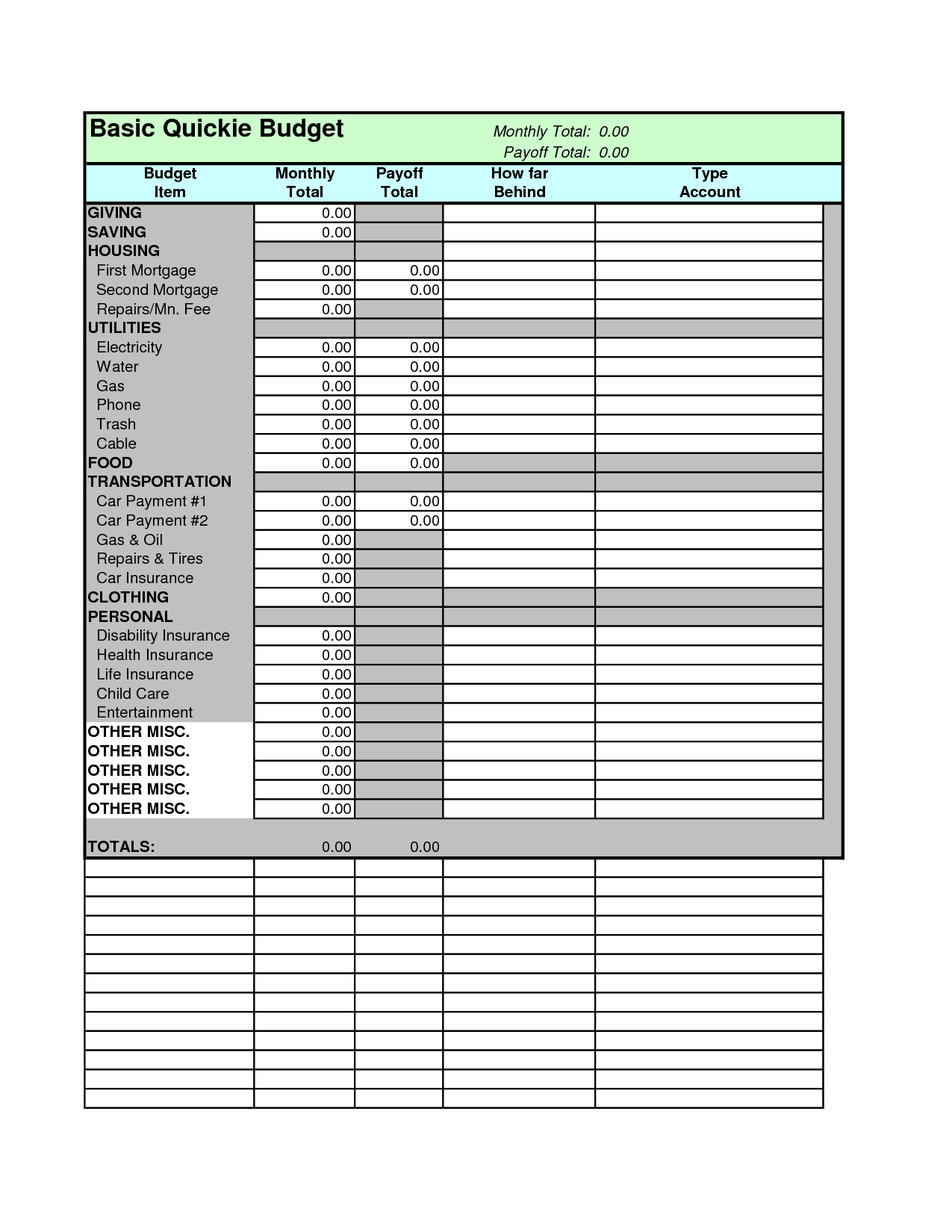 Dave Ramsey Budget Calculator | Spreadsheets | Dave Ramsey Printable Budget Worksheet