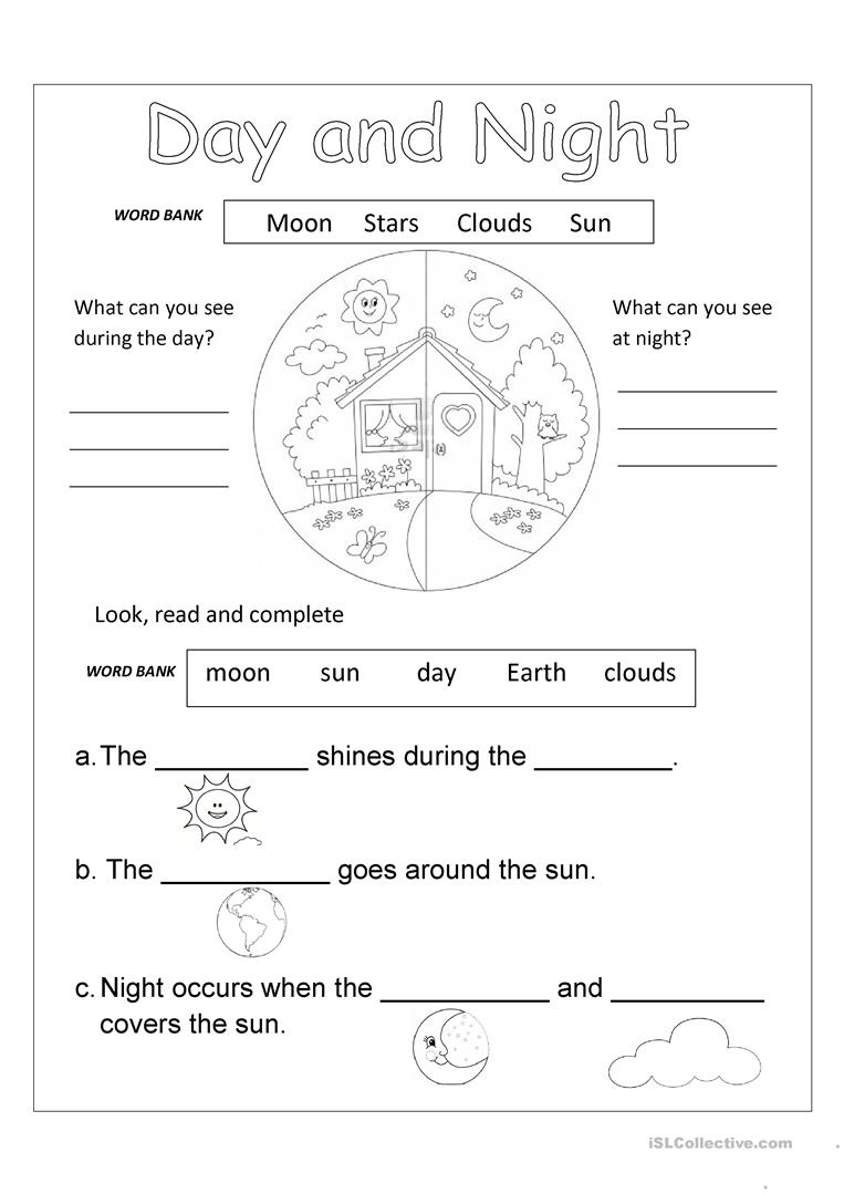 Day And Night Worksheet - Free Esl Printable Worksheets Madeteachers | Day And Night Printable Worksheets
