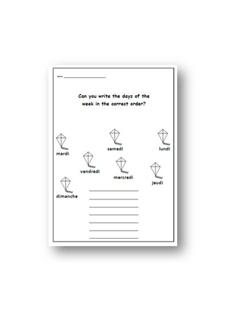 Days Of The Week French Worksheet / French For Kids School | Etsy | Printable French Worksheets Days Of The Week