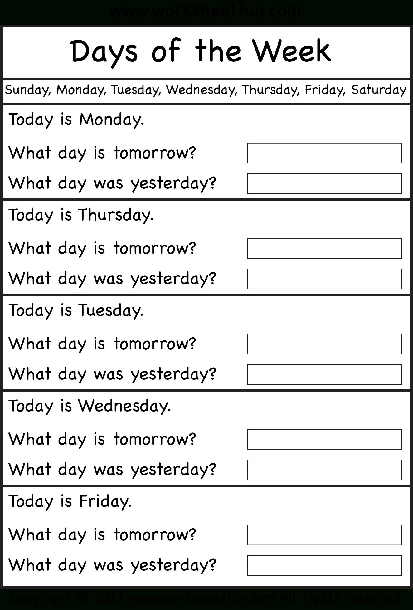 Days Of The Week – Worksheet / Free Printable Worksheets – Worksheetfun   Free Printable Kindergarten Days Of The Week Worksheets