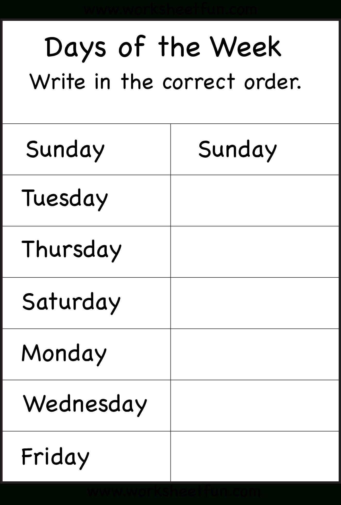 Days Of The Week Worksheet   Printable Worksheets   School   Free Printable Kindergarten Days Of The Week Worksheets