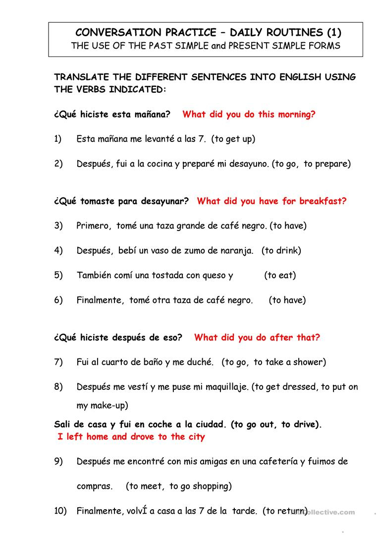 Dialy Routines. Translate From Spanish To English Worksheet - Free | Year 10 English Worksheets Printable