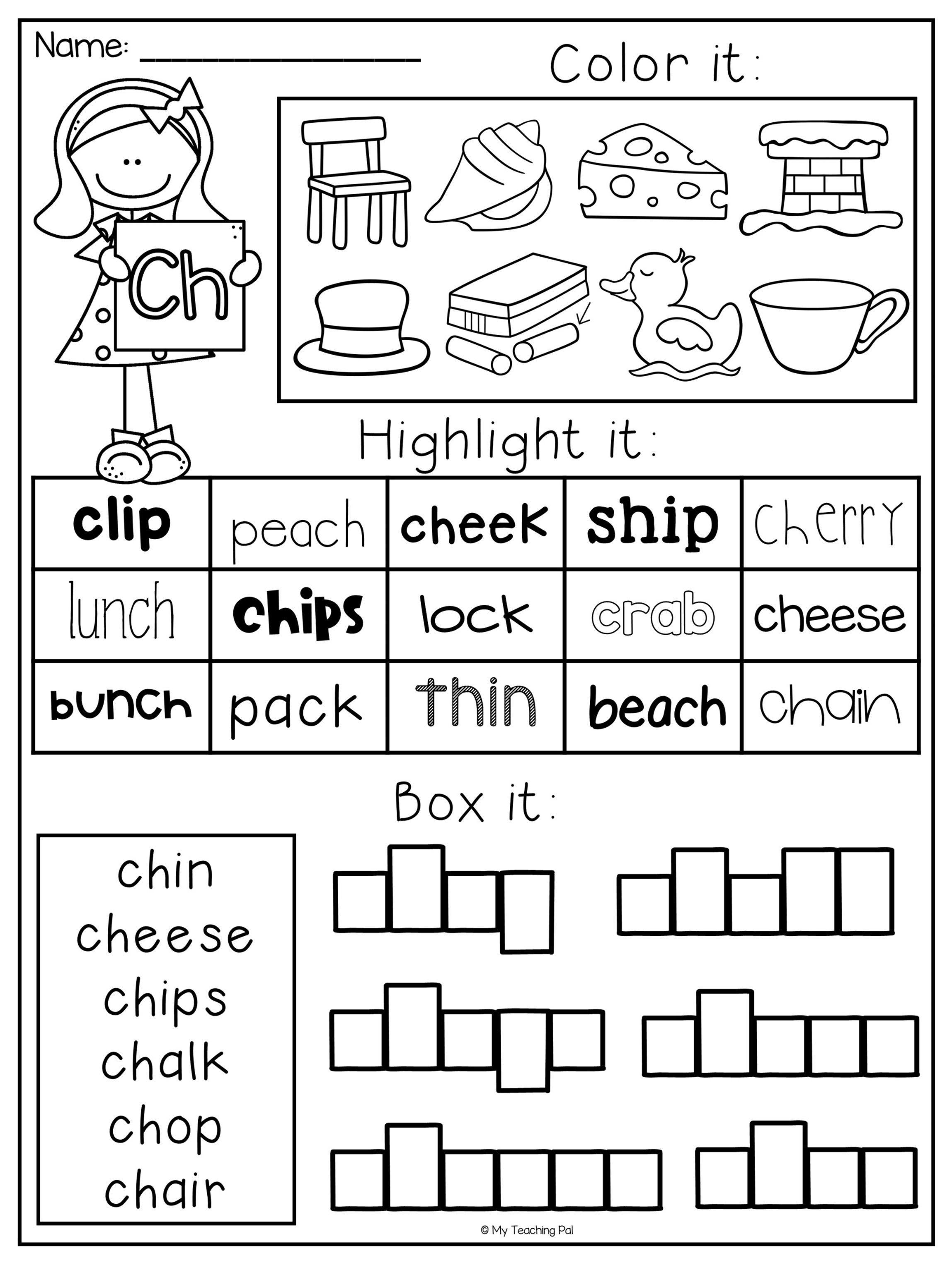 Digraph Worksheet Packet - Ch, Sh, Th, Wh, Ph | Educational | Sh Worksheets Free Printable
