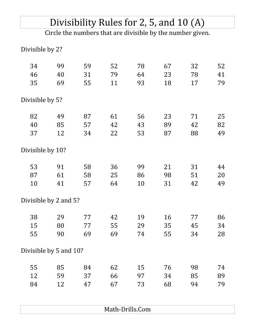Divisibility Rules For 2, 5 And 10 (2 Digit Numbers) (A) Math | Divisibility Rules Worksheet Printable