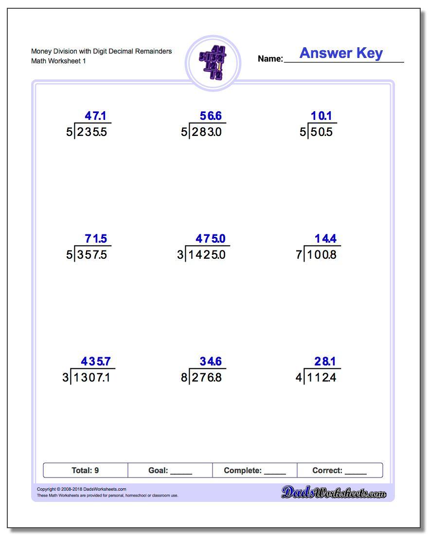 Division With Decimal Results | Printable Decimal Division Worksheets