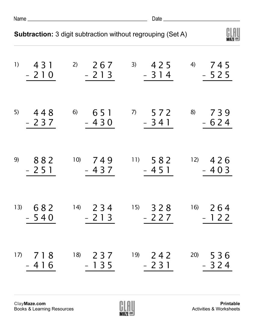 Download Our Free Printable 3 Digit Subtraction Worksheet With No | Free Printable Addition And Subtraction Worksheets With Regrouping