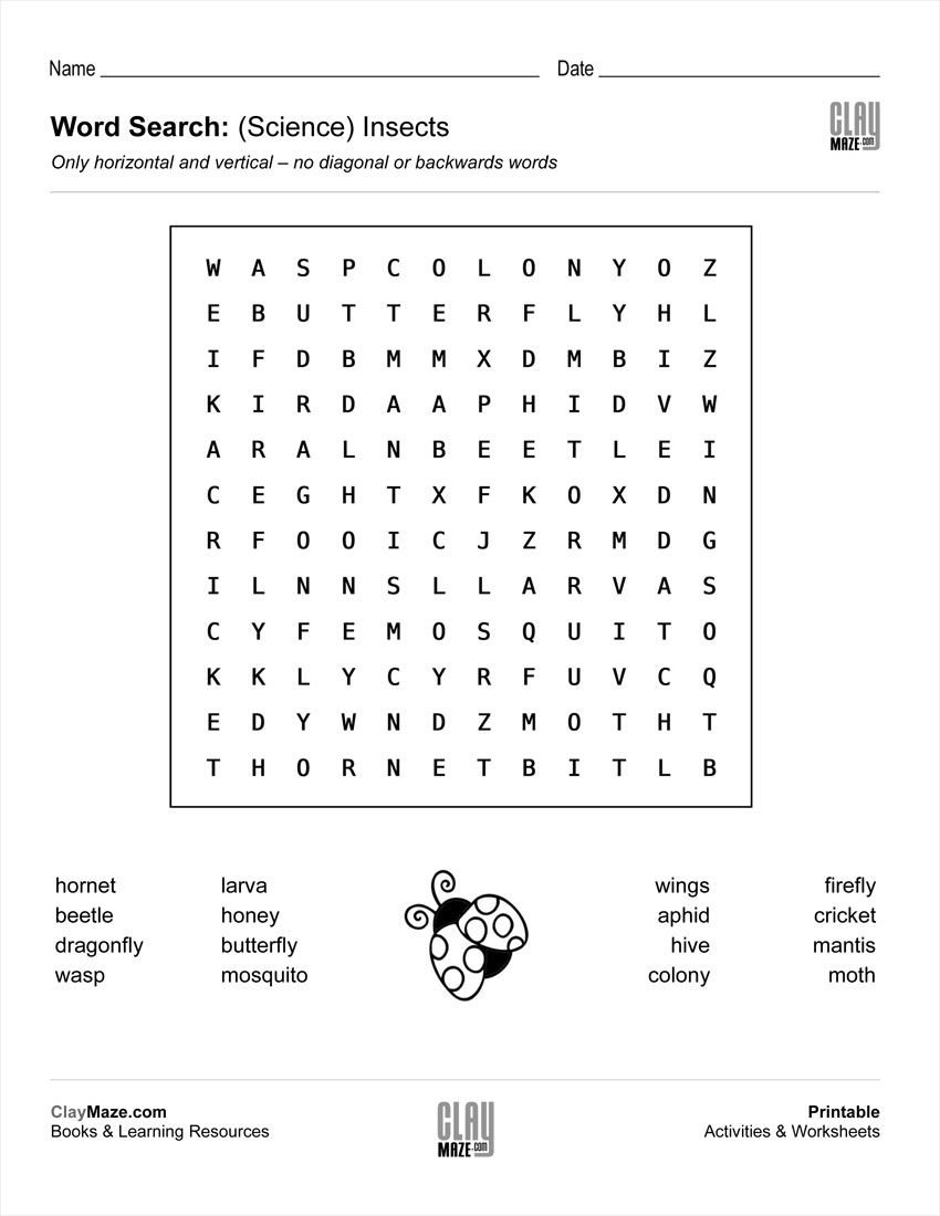 Download Our Free Word Search Puzzle - All About Insects | Butterfly Word Search Printable Worksheets