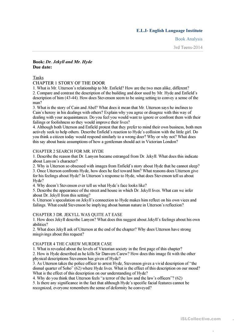 Dr. Jekyll And Mr. Hyde Worksheet - Free Esl Printable Worksheets | Dr Jekyll And Mr Hyde Printable Worksheets