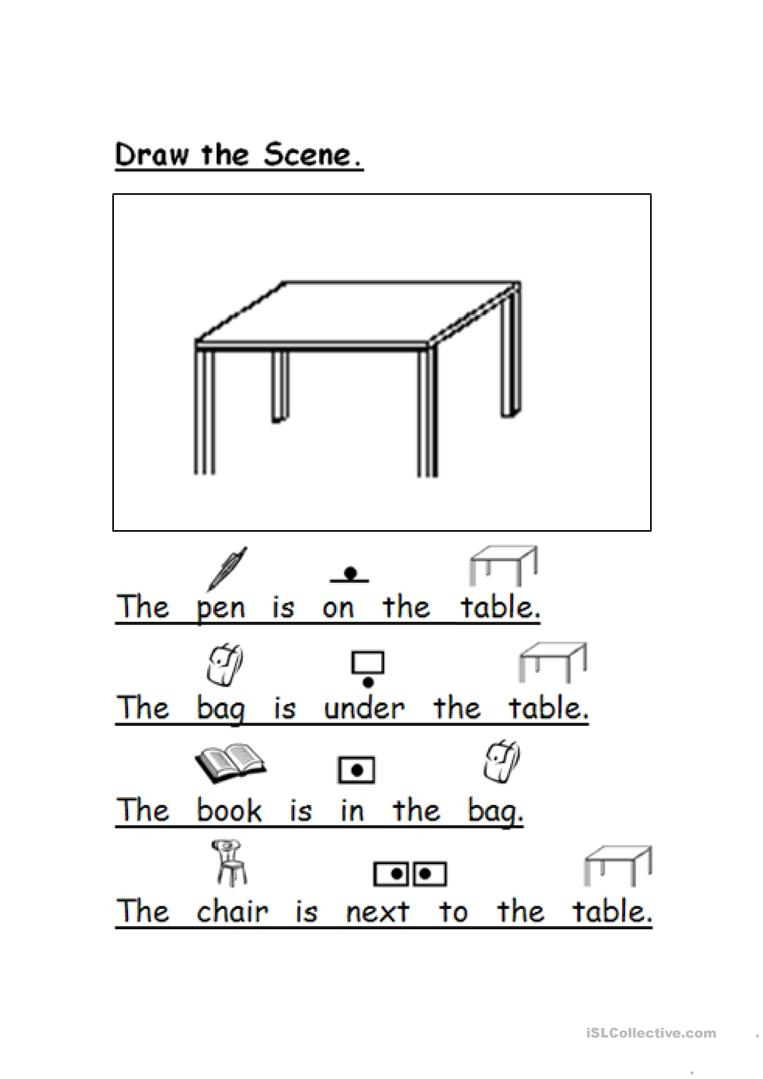 Draw The Scene Prepositions Worksheet - Free Esl Printable | Printable Preposition Worksheets