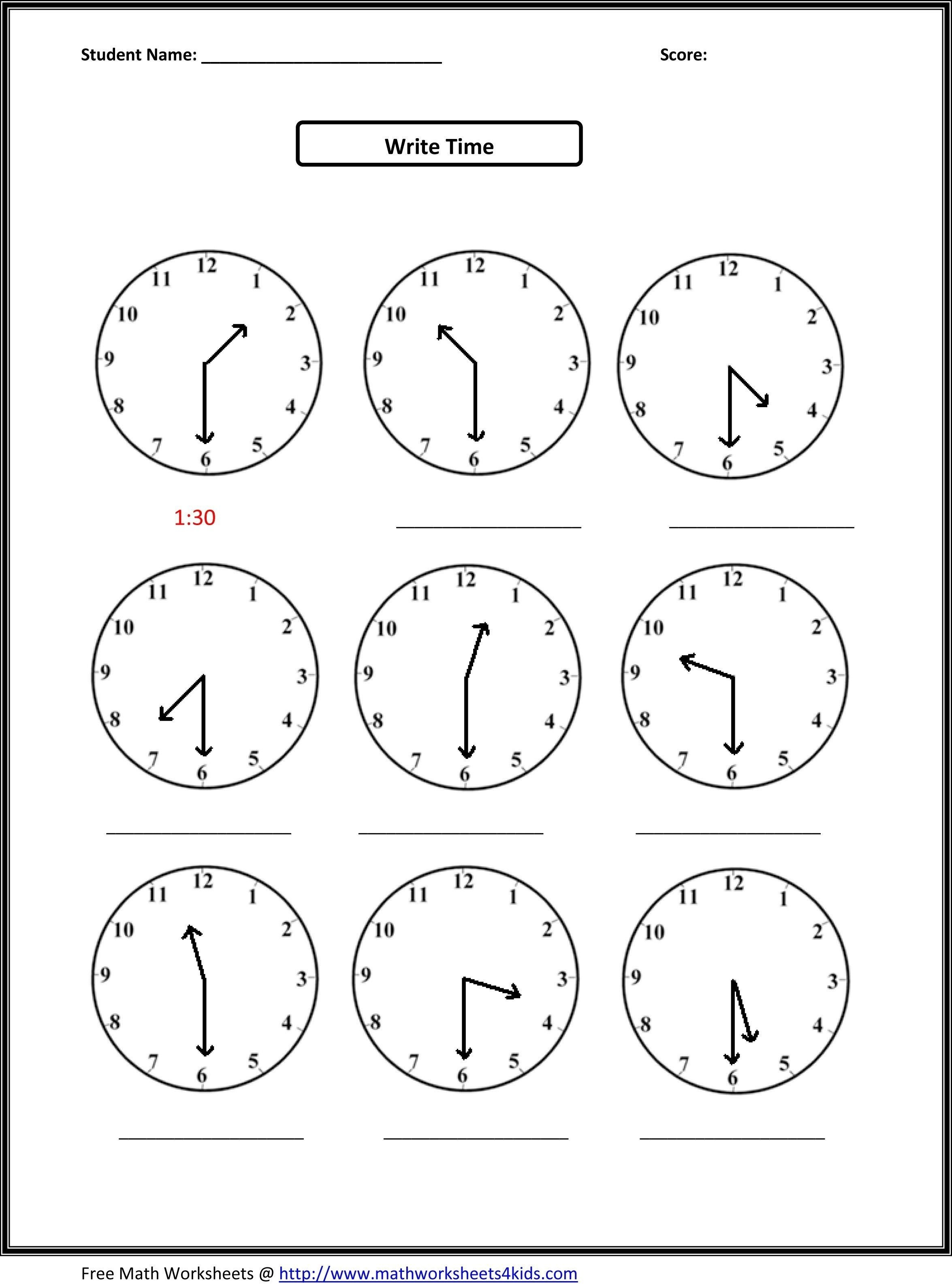 √ Telling Time Printable Worksheets First Grade Inspirationa - Free | Printable Clock Worksheets First Grade